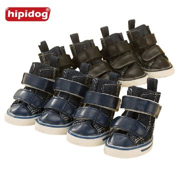 Hipidog 5 Size Winter Waterproof Cat Pet Dog Shoes Anti Slip Soft Leather Snow Boots Teddy Chihuahua Small Large Pets Dogs Shoes