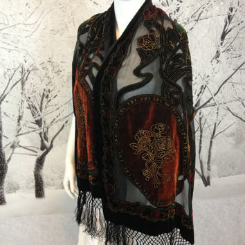Retro Silk Velvet Burnout Shawl Black Rust Green Floral Rose Motif Fringed Stevie Nicks Gypsy Boho Chic Shoulder Wrap Festival Scarf