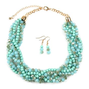 BRAIDED GLASS BEAD STATEMENT 18 INCHES NECKLACE SET