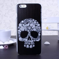 ForPeak iPhone 6 Plus Case White Flower Skull Head Pattern Snap on Back Hard Cover for iPhone 6 Plus 5.5 inch Screen