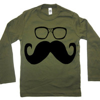 Kids Mustache Wayfarer Glasses Long Sleeve T Shirt - American Apparel - Kid Sizes 2 4 6 8 10 and 12 (4 Color Options)