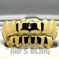 14k Gold Dracula Vampire Fang Tooth Top Bottom GRILLZ Mouth Teeth Caps Grills 3G