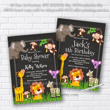 Jungle Animal Baby Shower, Jungle Birthday Invitation, Elephant, Lion, Giraffe, Monkey, little boy party,  party invitation - card 363