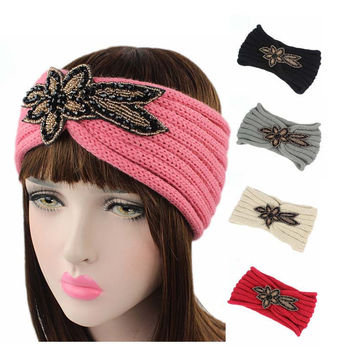 Jewelry beads flower Sparkle Floral knitted headbands knit headwrap hats