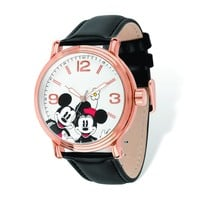 Disney Adult Size Rose-Tone Black Leather Mickey Mouse Watch