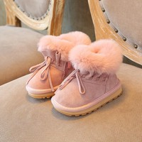 Girls Winter Shoes Snow Boots For Girls Rubber Boots Children Footwear Genuine Leather Boots