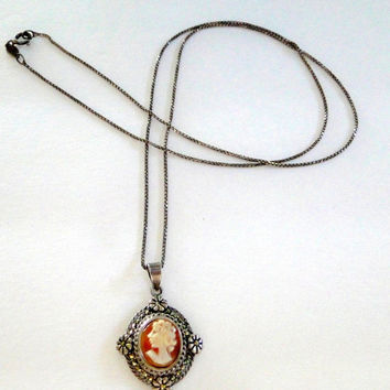 Sterling Cameo Necklace Carved Shell Cameo Pendant Marcasite Vintage Cameo Jewelry