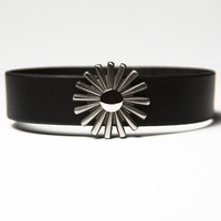 Black  Latigo Leather Choker with Steel Rowel Spur & Nickel Fasteners