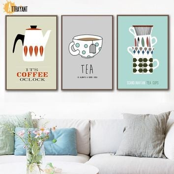 Coffee Tea Cups Wall Art Canvas Painting Nordic Posters And Prints Wall Pictures For Living Room Kitchen Dining Room Home Decor
