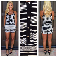 Country Club Striped Romper