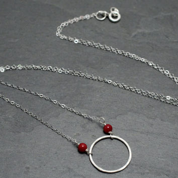 SALE 20%off Sterling Silver Eternity Circle Coral Gemstone Hammered Drop
