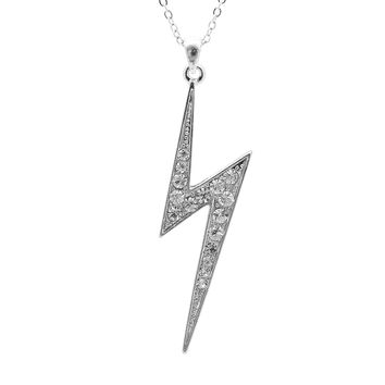 Silver Plated Crystal Lightning Flash Necklace