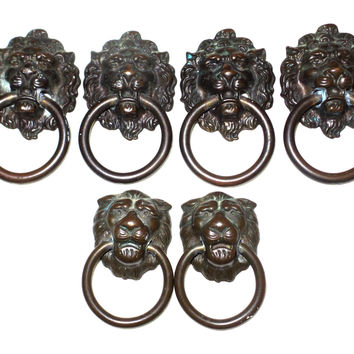 kbc lion head brass draw pulls, drawer knobs, furniture knobs set of 6 vintage