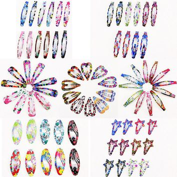 10-12 Pcs Colorful Painting Hairpins BB clips Metal Hair clips Simple Bobby Pins Leopard Hair Ornament Barrettes girls headdress