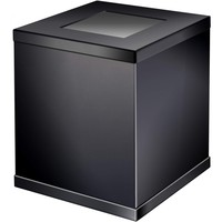 Black Square Open Top Wastebasket Trash Can for Bathroom, Kitchen, Office, Solid Brass