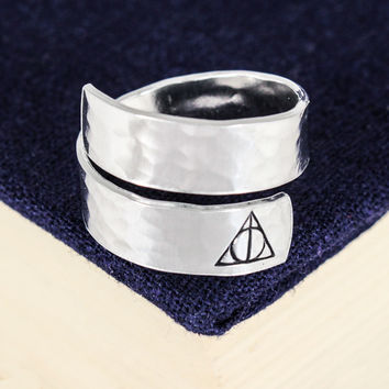 Deathly Hallows Wrap Ring - Harry Potter - Adjustable Aluminum Wrap Ring