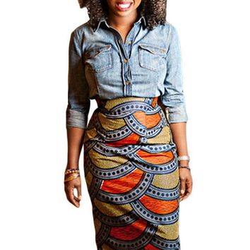 Stylish African Fashion Print Bodycon Midi Skirt