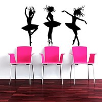 Wall Decal Vinyl Sticker Decals Art Home Decor Murals Decal Ballerina Acrobatics Girl Ballet Dancer Gymnastics Sport Jump Bedroom Dance Studio Kids Children Gift Nursery Dorm Bedroom AN205