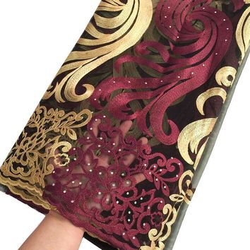 Wine latest nigerianhigh quality african french lace embroidery stones african lace fabric pink