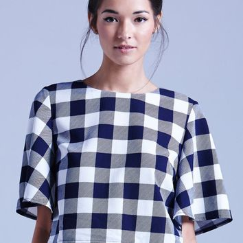 GIRLS ON FILM NAVY AND WHITE GINGHAM BOX TOP