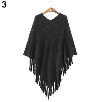 2016 New Women's Knit Warm Batwing Cape Tassels Poncho Cloak Jacket Coat Winter Outwear 4 Colors