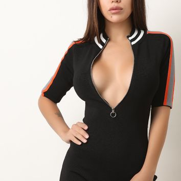 Ribbed Knit Striped O-Ring Zip-Up Fitted Romper