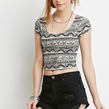 Floral Tribal Print Crop Top