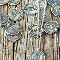 Wax Seal Monogram Initial Charm Necklace