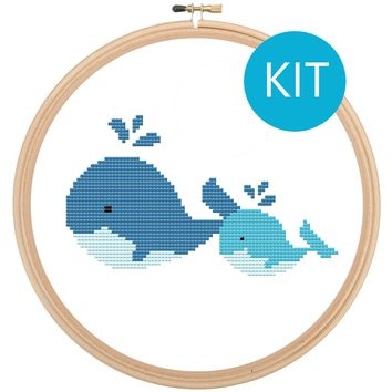 Whales Cross Stitch Kit - Cute Animal Cross Stitch