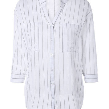 Vertical Striped 3/4 Sleeve Buttoned Down Blouse