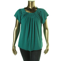 Style & Co. Womens Striped Pleated Blouse