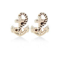 Gold tone anchor stud earrings