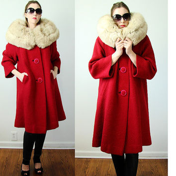 Vintage 1960s Red Wool Wide FOX FUR Collar Pink Button Front Swing Princess Coat