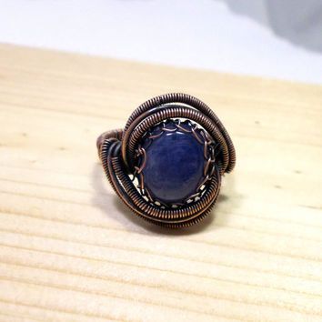 Blue Kyanite Copper Ring, Rustic Wire Wrapped Ring
