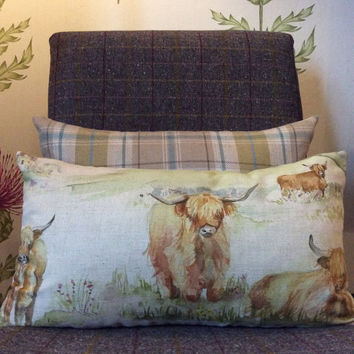 "Handmade Highland Cow Cushion Covers 12"" x 20"""