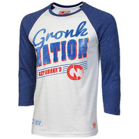 Sportiqe New England Patriots Oats Raglan T-Shirt - White/Navy Blue