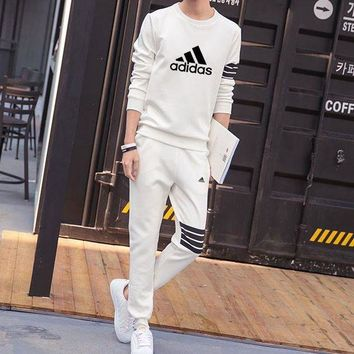 ONETOW Adidas Women Men Fashion Casual Top Sweater Pants Trousers Set Two-Piece
