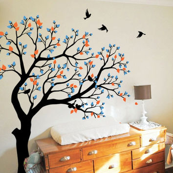 Large TreeWall Poster Nursery Kids Bedroom Art Decor Wall Sticker Huge Tree With Flying Birds Vinyl Removable Wall Decals T-19