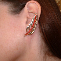 Red Rhinestone Gold Tone Clip Earrings.  Beautiful open leaf design that hugs your ear in an upward sweep.