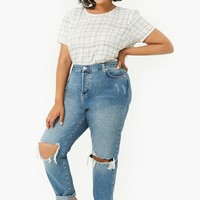 Plus Size Distressed Mom Jeans