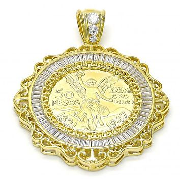 Gold Layered 05.26.0039 Religious Pendant, Angel and Greek Key Design, with White Cubic Zirconia, Polished Finish, Gold Tone