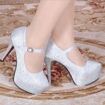 Women high heels rhinestone wedding shoes female platform white red pumps sys-117