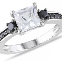 1/3 CT Black Diamond TW And 1 1/3 CT TGW Created White Sapphire Fashion Ring Silver Black Rhodium Plated - Rings