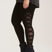 Crisscross Mesh Inset Full Length Leggings