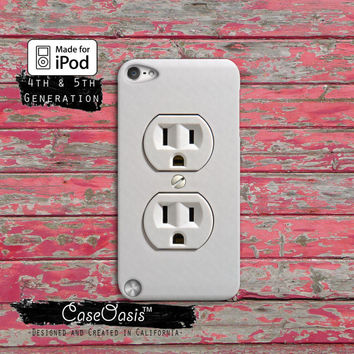 Electrical Outlet Funny Plug Power Cute Custom Case iPod Touch 4th Generation or iPod Touch 5th Generation Rubber or Plastic Case