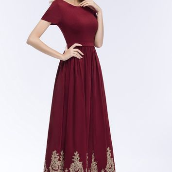 New burgundy Cocktail Dresses with short Sleeve tea Length Short Satin Sexy Women Party Evening Gown