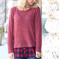 Peek-A-Boo Plaid Sweater {Burgundy Mix}