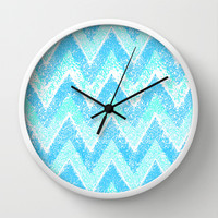 minty snow chevron Wall Clock by Marianna Tankelevich