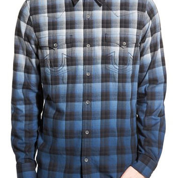 'New Western' Trim Fit Dip Dye Plaid Shirt