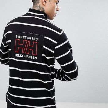 Sweet SKTBS x Helly Hansen 1/4 Zip Striped Sweatshirt With Back Print at asos.com